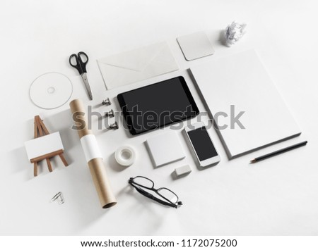 Brand identity mockup. Blank stationery and gadgets on paper background. #1172075200