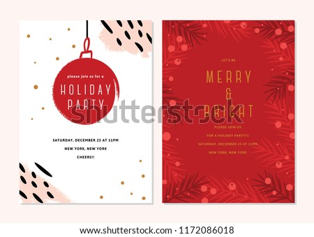 Vector Christmas Cards Set. Holiday Party Card Templates Design Royalty-Free Stock Photo #1172086018