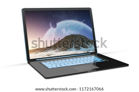 Side view of isolated modern black laptop with shadow 3d rendering #1172167066