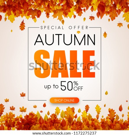 Autumn sale. Special offer. Promo poster with golden leaves. Vector background.