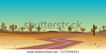 road in yhe desert with cactus #1172346451