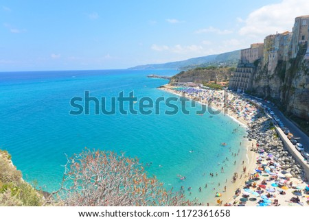 High view of Tropea town and beach - Calabria, Italy #1172361658