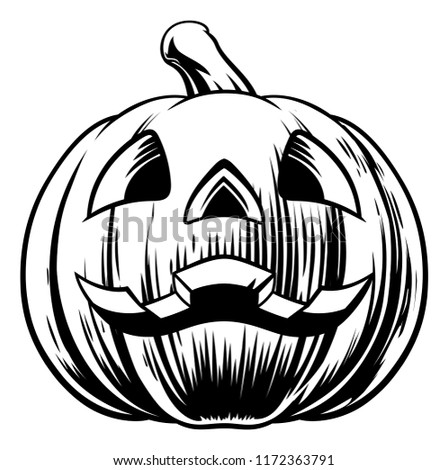 An illustration of a cartoon Halloween pumpkin carved with a face on it in a vintage retro woodcut style