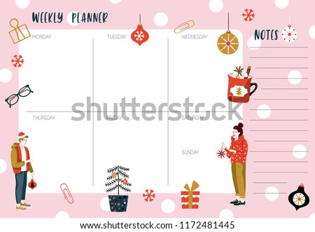 Weekly planner template. Organizer and schedule with place for Notes. Vector illustration. Cute and trendy. Christmas style #1172481445