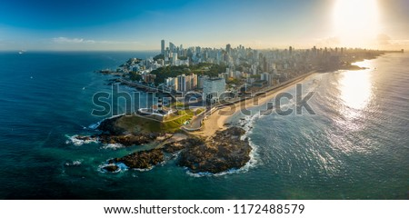 Aerial View of Farol da Barra in Salvador, Bahia, Brazil #1172488579