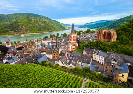 Bacharach aerial panoramic view. Bacharach is a small town in Rhine valley in Rhineland-Palatinate, Germany #1172559577