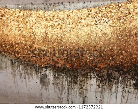 Texture of the gold leaf, Gold background, Picture from Buddha image Back.