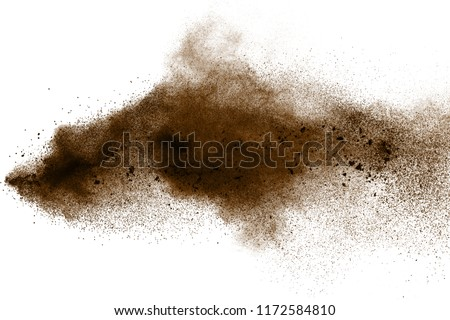 Deep Brown particles splattered on white background. Brown coffee colored dust splash. #1172584810
