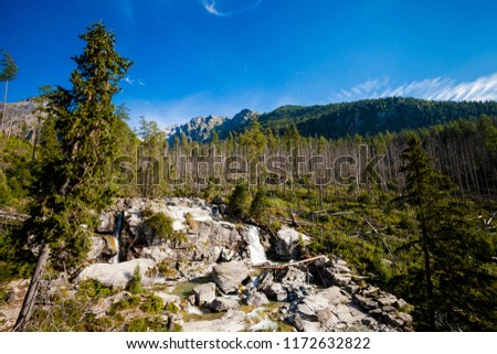 Beautiful Velka Studena Dolina - in slovakian High Tatra mountains. Beautiful summer panorama - path from Stary Smokovec via Hrebeniok to Zbojnicka Chata #1172632822