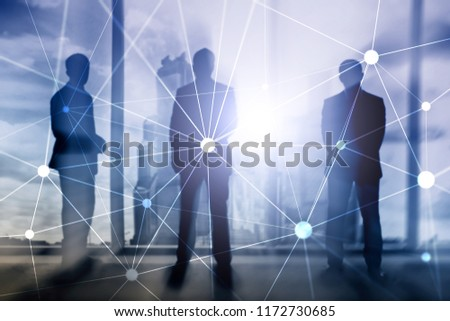 Blockchain network on blurred skyscrapers background. Financial technology and communication concept. #1172730685