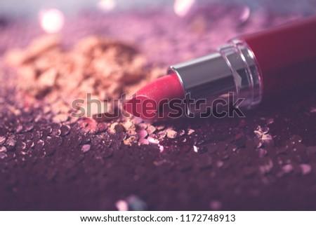 beautiful modern minimal nude lipstick makeup cosmetic #1172748913
