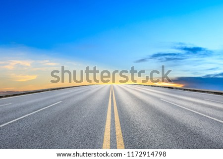 Clean asphalt highway and beautiful sky clouds at sunset #1172914798