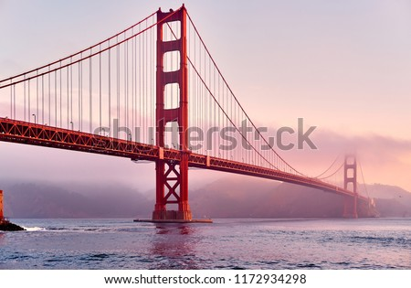 Golden Gate Bridge view from Fort Point at sunrise, San Francisco, California, USA #1172934298