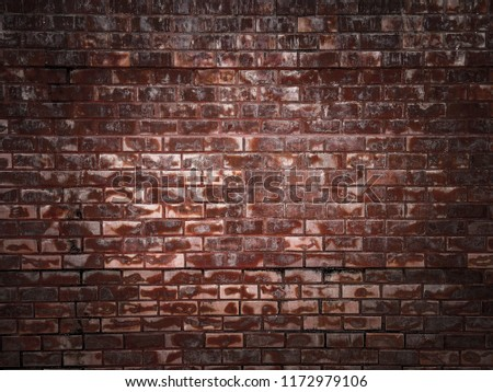 stained old dark brown and red brick wall background, grungy rusty blocks of stone-work technology, Background of brick wall texture, Vintage cleaned red brick wall. Empty background. #1172979106