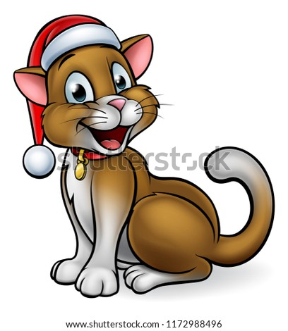 A cute cartoon cat character wearing a Santa Claus Christmas hat