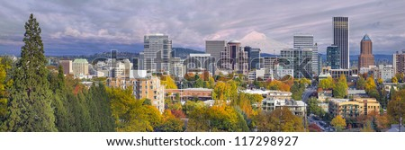 Portland Oregon Downtown City Skyline with Mount Hood in the Colorful Fall Panorama