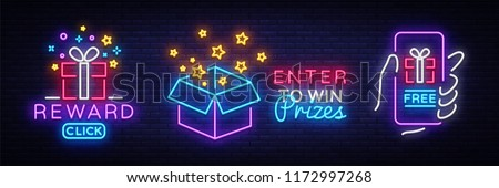 Prizes collection Neon Sign Vector. Gift neon sign, Win super prize design template, modern trend design, night neon signboard, night bright advertising, light banner, light art. Vector illustration #1172997268