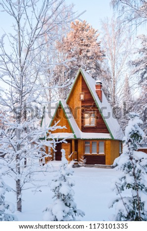 Bright wooden house in the snow-covered forest. Ural, Russia. #1173101335