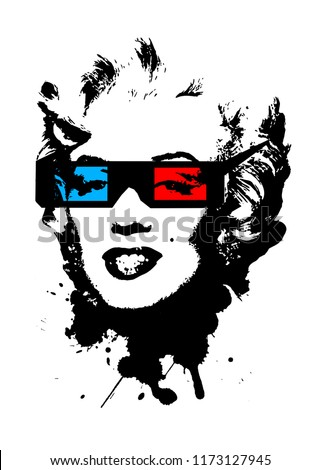 Marilyn Monroe wearing 3D movie glasses. 3D glasses, red and blue. Black splash of black color creating Marilyn Monroe portrait