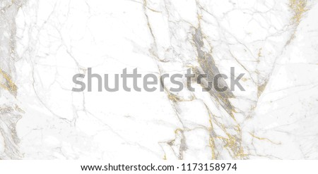 Golden Calacatta marble texture of a natural white and grey stone tile #1173158974