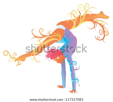 Woman artistic Gymnastic performer doing floor exercise with abstract and creative stylish fantasy imagination concept in isolated background, create by vector #117317083