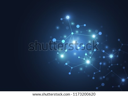 Abstract connecting dots and lines molecule background. Connection science compounds, medical, technology or scientific concept background. Vector illustration #1173200620