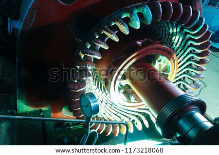 Stator generators of a big electric motor in the coal fired power plant factory manufacturing. #1173218068