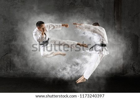 Martial arts masters, karate practice. Two male karate fighting  Royalty-Free Stock Photo #1173240397