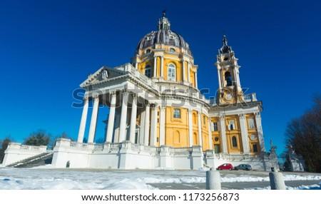 View of catholic Basilica of Superga one of symbol of Turin, Italy