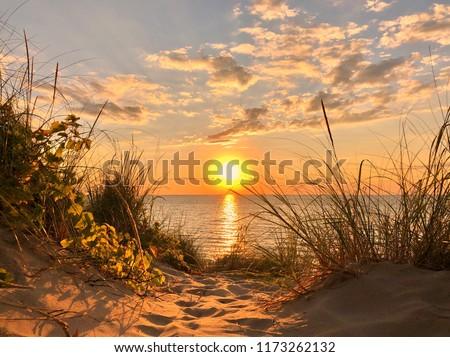 Lake Michigan Sunset Royalty-Free Stock Photo #1173262132