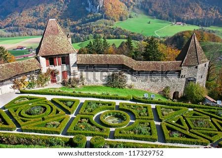 Beautiful garden in the famous Gruyere castle, Switzerland #117329752