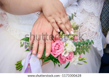 Manicure on a bouquet. Wedding manicure. Manicure shellac Wedding details, preparation #1173300628