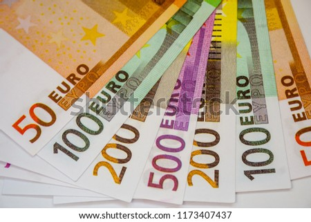 Euro Money Banknotes and cash. 50. 100. 200. 500 euro. #1173407437