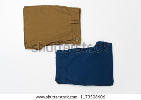 Chino Pants for men  isolated on white background, Brown and Light navy color. #1173508606