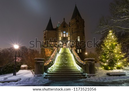 Teleborg Castle at snowy night in Vaxjo, Sweden #1173521056