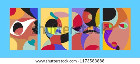 Vector Abstract Colorful Geometric and Curvy pattern background illustration. Set of Abstract Tribal Ethnic background for Cover, Poster, and print in Eps 10. #1173583888