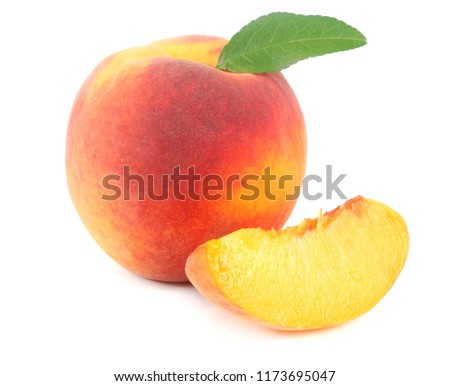 peach fruit with green leaf and slices isolated on white background #1173695047