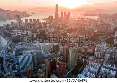 Aerial view of Hong Kong City  #1173745498