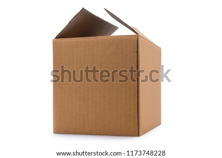 Clardboard box taped up isolated on a white background with clipping path. #1173748228