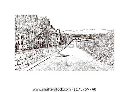 Building view with landmark of Ibiza Town is the capital of Ibiza, one of Spain's Balearic Islands in the Mediterranean Sea. Hand drawn sketch illustration in vector. #1173759748
