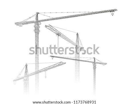 Tower construction crane. Vector line art on white Royalty-Free Stock Photo #1173768931