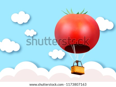 3D tomato hot air  balloon floating in the blue sky and cloudy