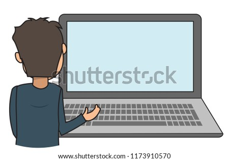 Boy man casual looking at blank empty laptop screen put your contents image products services #1173910570