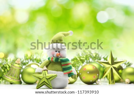 Snowman and christmas decoration on abstract background
