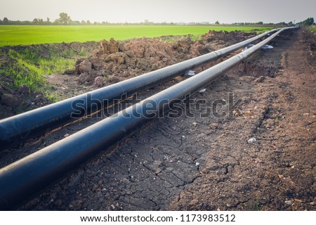 Construction of a new energy pipeline of Oil or Gas pipeline,Pipes at a construction site to be used in a new energy pipeline . #1173983512