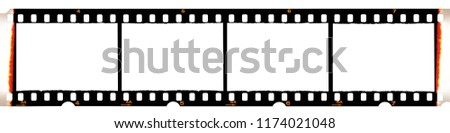 Camera film strip, isolated on white background, film strip with no pictures on it, Real high-res 35mm photo scan
