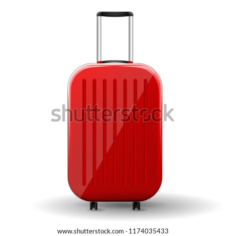 Red glossy suitcase with wheels on white background. Vector Illustration. #1174035433