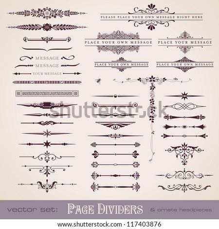 large collection of page dividers and ornate headpieces #117403876