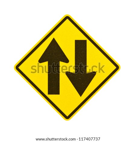 Two way traffic sign on white background with clipping path. Royalty-Free Stock Photo #117407737