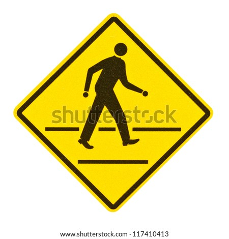 Blank yellow road sign on white background with clipping path. Royalty-Free Stock Photo #117410413